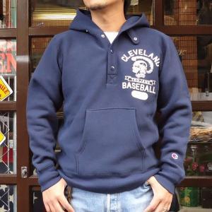 チャンピオン Champion BUDDY 別注 リバースウィーブ ハーフスナップパーカー(CLEVELAND) トレーナー アメカジ|buddy-us-clothing