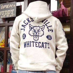 チャンピオン Champion BUDDY別注 リバースウィーブ ハーフスナップーパーカー(WHITECATS)/青タグ スウェットパーカー 裏起毛 アメカジ C3-G101|buddy-us-clothing