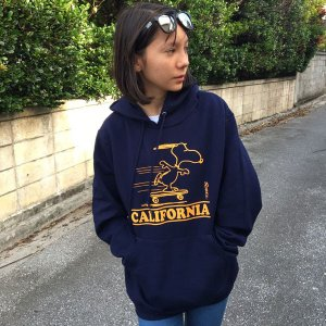 スヌーピー PEANUTS プルオーバーパーカー SNOOPY CALIFORNIA BUDDY 別注 スウェットパーカー 裏起毛 アメカジ カリフォルニア ピーナッツ Schulz|buddy-us-clothing