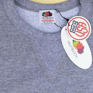 フルーツ オブ ザ ルーム FRUIT OF THE LOOM BUDDY 別注 前V クルースウェット  アメリカ製 無地 グレー アメカジ フロントガゼット Made in U.S.A. GRAY|buddy-us-clothing