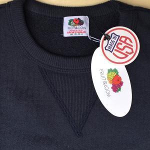 フルーツ オブ ザ ルーム FRUIT OF THE LOOM アメリカ製 BUDDY 別注 前V クルースウェット 無地 ネイビー アメカジ フロントガゼット NAVY Made in U.S.A.|buddy-us-clothing
