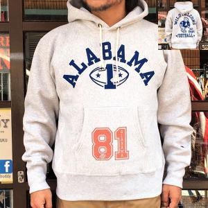 別注 チャンピオン プルオーバーパーカー Champion BUDDY別注 リバースウィーブ ALABAMA 81 WILD FALCONSトレーナー アメカジ C3-W102 単色タグ メンズ アメカジ|buddy-us-clothing