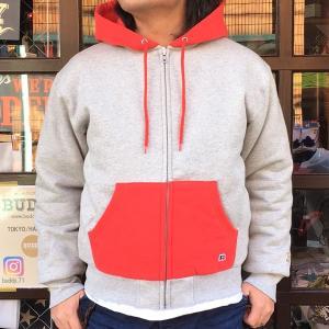 ラッセルアスレチック RUSSELL ATHLETIC BUDDY 別注 2TONE フルジップパーカー トレーナー 裏キルティング RED メンズ アメカジ 防寒 スウェット|buddy-us-clothing