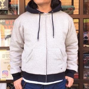 ラッセルアスレチック RUSSELL ATHLETIC BUDDY 別注 2TONE フルジップパーカー トレーナー 裏キルティング NAVY メンズ アメカジ 防寒 スウェット|buddy-us-clothing