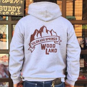 コロラド スプリングス BUDDYオリジナル WOODLAND COLORADO SPRINGS プルオーバーパーカー GILDAN CAMP USA アメリカ国立公園 アウトドア ウッドランド キャンプ|buddy-us-clothing
