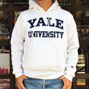 アメリカ製 チャンピオン YALE UNIVERSITY イエール Champion リバースウィーブ 赤タグ プルオーバースウェットパーカー 12.5oz MADE IN USA C5-S103 ホワイト|buddy-us-clothing