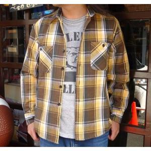 ★SPRINGFORD★ヘビーネルシャツ #6(ブラウン×ゴールド)