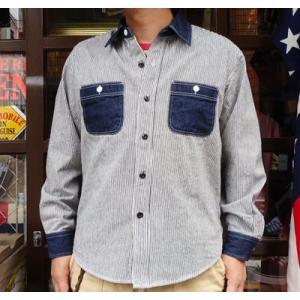 ワークシャツ BUDDY オリジナル SPRINGFORD 2TONE WORK SHIRT ヒッコリー×デニム 長袖 アメカジ デニムシャツ ヒッコリーストライプ buddy-us-clothing