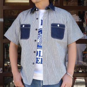 ワークシャツ 半袖 BUDDYオリジナル SPRINGFORD  SHORT SLEEVES 2TONE WORK SHIRT ヒッコリー×デニム アメカジ デニムシャツ ヒッコリーストライプ buddy-us-clothing