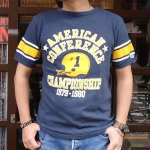 チャンピオン Champion ロチェスター フットボール ラインTシャツ(★AMERICAN★CONFERENCE) BUDDY 別注 17SS Rochester (C3-K311) アメカジ ネイビー|buddy-us-clothing