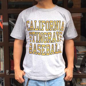 チャンピオン アメリカ製 Tシャツ Champion T1011 MADE IN U.S.A. BUDDY 別注  CALIFORNIA STINGRAYS BASEBALL ティーテンイレブン ベースボール|buddy-us-clothing