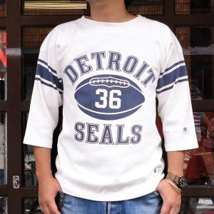 チャンピオン フットボールシャツ Champion BUDDY 別注 バディ 3/4スリーブ 七分袖 DETROIT SEALS #36 アメカジ デトロイト シールズ C3-L405|buddy-us-clothing