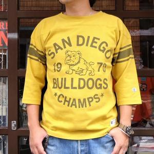 チャンピオン フットボールシャツ Champion BUDDY 別注 3/4 スリーブ 七分袖 SAN DIEGO BULLDOGS #70 アメカジ サンディエゴ ブルドッグス C3-L405|buddy-us-clothing