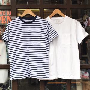 フルーツオブザルーム FRUIT OF THE LOOM ボーダーT ホワイトT ポケットTシャツ 2枚セット アメカジ クルー ポケット 無地 ボーダー 二枚組 サーフ スケート|buddy-us-clothing