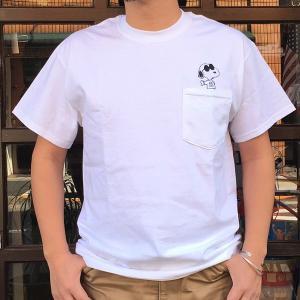 スヌーピーポケット付きTシャツ PEANUTS JOE COOL WHITE BUDDY 別注 SNOOPY ポケT ピーナッツ ホワイト 70's SCHULZ|buddy-us-clothing