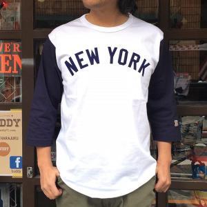 NEW YORK ニューヨーク ベースボールシャツ BUDDY オリジナル 七分袖 SPRINGFORD アメカジ メンズ NY ホワイト ネイビー ベースボールTシャツ|buddy-us-clothing