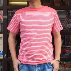 Champion 2018新作 ベーシックチャンピオン ボーダーTシャツ ピンク 18SS C3-M351 PINK ヘインズ アメカジ|buddy-us-clothing