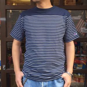 Champion 2018新作 ベーシックチャンピオン ボーダーTシャツ ネイビー 18SS C3-M351 NAVY ヘインズ アメカジ|buddy-us-clothing