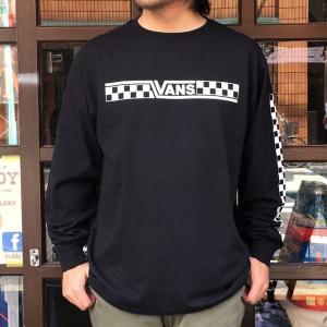 バンズ VANS BMX OFTE L/S T-Shirt ブラック CHECKER ロングスリーブTシャツ ヴァンズ OLD BMX メンズ 長袖Tシャツ ロンT VA18SS-MT31 黒|buddy-us-clothing