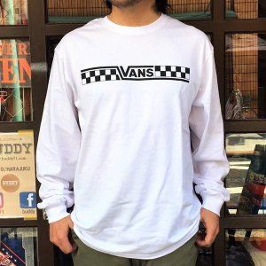 バンズ VANS BMX OFTE L/S T-Shirt  ホワイト CHECKER ロングスリーブTシャツ ヴァンズ OLD BMX メンズ 長袖Tシャツ ロンT VA18SS-MT31 白|buddy-us-clothing