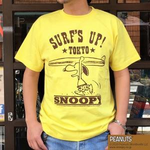 スヌーピーTシャツ PEANUTS SURF'S UP TOKYO YELLOW BUDDY 別注 SNOOPY 東京 ピーナッツ スケボー サーフィン イエロー 70's SCHULZ SCHULZ 黄色|buddy-us-clothing