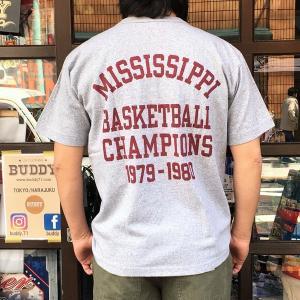別注 チャンピオン Champion アメリカ製 Tシャツ T1011 MADE IN U.S.A. Tシャツ BUDDY別注 MISSISSIPPI TIGERCATS ティーテンイレブン グレー GRAY アメカジ|buddy-us-clothing
