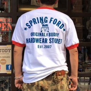 リンガーTシャツ BUDDY オリジナル SPRINGFORD ホワイト×レッド メンズ アメカジリンガーTシャツ レディース 白 赤トリム|buddy-us-clothing
