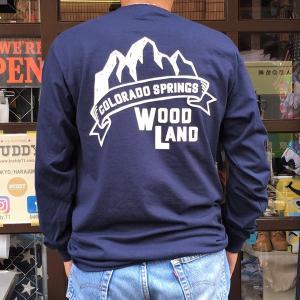 コロラド スプリングス BUDDYオリジナル WOODLAND COLORADO SPRINGS ポケット付き ロングスリーブTシャツ GILDAN CAMP USA アメリカ国立公園 アウトドア|buddy-us-clothing