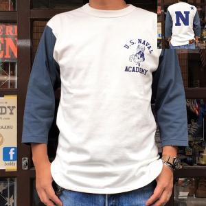 USNA United States Naval Academy 米国海軍兵学校 BUDDY 別注 ベースボールTシャツ 七分袖 アメカジ メンズ ホワイト ネイビー|buddy-us-clothing