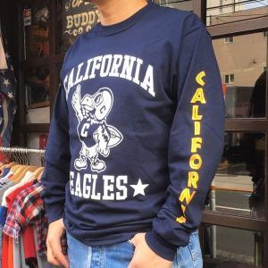 ロンT ロングスリーブTシャツ BUDDYオリジナル CALIFORNIA EAGLES GILDAN カリフォルニア イーグルス USA ネイビー アメカジ 長袖 ロングTシャツ|buddy-us-clothing