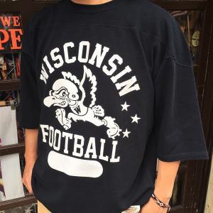 フットボールシャツ BUDDY オリジナル ハーフスリーブ WISCONSIN フットボールTシャツ  半袖 ロゴTシャツ アメカジ 七分袖 五分袖 Tシャツ|buddy-us-clothing