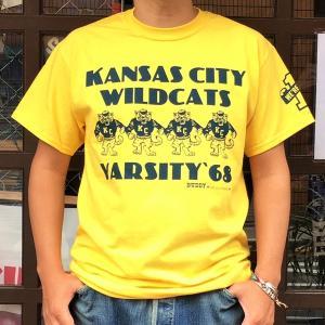 アメカジ Tシャツ カンサスシティー ワイルドキャッツ BUDDY オリジナル KANSAS CITY WILD CATS #1 半袖 ロゴTシャツ KANSAS CITY WILDCATS #1 VARSITY'86|buddy-us-clothing