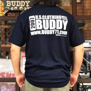 ポケット付きTシャツ ポケT BUDDY オリジナル ネイビーTシャツ NAVY アメカジ 半袖 ロゴTシャツ バックプリント 両面プリント コットン100% 2XL 3XL|buddy-us-clothing