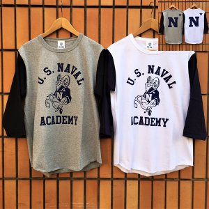 USNA United States Naval Academy 米国海軍兵学校 BUDDY 別注 ベースボールTシャツ 2 七分袖 アメカジ メンズ グレー×ブラック ホワイト×ネイビー|buddy-us-clothing