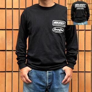 ロンT ロングスリーブTシャツ BUDDY オリジナル BUDDY CLOTHING SOLD AND SERVICED BLACK アメカジ 長袖 プリント ロングTシャツ ブラック|buddy-us-clothing