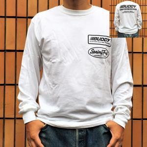 ロンT ロングスリーブTシャツ BUDDY オリジナル BUDDY CLOTHING SOLD AND SERVICED BLACK アメカジ 長袖 プリント ロングTシャツ ホワイト|buddy-us-clothing