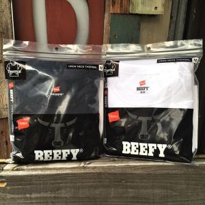 Hanes ビーフィー サーマル クルーネック ロングスリーブ Tシャツ 20FW BEEFY-T ヘインズ HM4-Q103 ロンT アメカジ 長袖 ホワイト ネイビー|buddy-us-clothing
