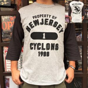 7分袖 Tシャツ ベースボールシャツ GO! CYCLONES バックプリント BUDDY オリジナル 七分袖 アメカジ メンズ グレー ブラック|buddy-us-clothing