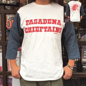 7分袖 Tシャツ ベースボールシャツ PASADENA CHIEFTAINS バックプリント BUDDY オリジナル 七分袖 アメカジ メンズ オフホワイト ネイビー|buddy-us-clothing