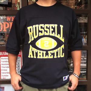RUSSELL ATHLETIC ラッセルアスレチック フットボール Tシャツ ネイビー 5分袖 Tシャツ 五分袖 アメカジ メンズ|buddy-us-clothing
