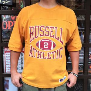RUSSELL ATHLETIC ラッセルアスレチック フットボール Tシャツ OLD GOLD ゴールド イエロー 5分袖 Tシャツ 五分袖 アメカジ メンズ|buddy-us-clothing