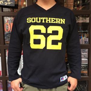 RUSSELL ATHLETIC ラッセルアスレチック フットボール Vネック ロングスリーブTシャツ ネイビー 長袖 シャツ アメカジ メンズ|buddy-us-clothing