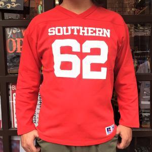 RUSSELL ATHLETIC ラッセルアスレチック フットボール Vネック ロングスリーブTシャツ SCARLET 赤系 長袖 シャツ アメカジ メンズ|buddy-us-clothing