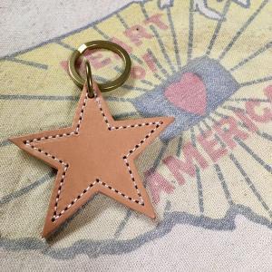BUDDY オリジナル レザースターキーホルダー ヌメ革 本革 アメカジ 星