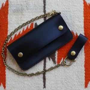 クロムエクセルレザー ロングウォレット(ブラック) ウォレットチェーン付き BUDDY オリジナルトラッカー  長財布  黒 真鍮  ブラス buddy-us-clothing