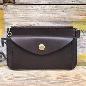 小銭入れ メンズ コインケース 財布 ウォレット BUDDY オリジナル small coin purse wallet 栃木レザー 本革 レザーウォレット ブラウン 茶 BROWN|buddy-us-clothing