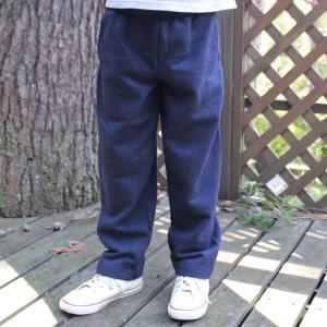 ヘインズ キッズ 無地 ネイビー スウェット パンツ Hanes US企画 輸入品 NAVY Sサイズ(6/7) 120~130 アメカジ Kids 裏起毛 open leg pants|buddy-us-clothing