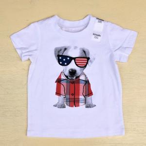 ファーストインプレッションズ FIRST IMPRESSIONS Baby KID'S コットン 綿100% 子供服 わんちゃんTシャツ アメリカ 星条旗 ジャックラッセルテリア dog|buddy-us-clothing