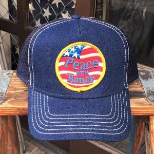 Peace with Honor BUDDY オリジナル ワッペン付きデニムキャップ OTTO オットー ベースボールキャップ 名誉ある平和 USA アメリカ 星条旗|buddy-us-clothing