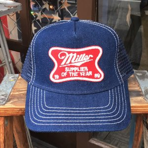 MILLER BEER SUPPLIER OF THE YEAR 1989 ミラービール BUDDY オリジナル ワッペン付きデニムキャップ OTTO オットー デニムキャップ|buddy-us-clothing